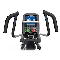 Nautilus E618's console with STN DualTrack 2 LCD screens. Multi-position handlebars with quick-adjust controls for resistance & incline. 29 programs, 25 ECB resistance levels, 0-15% motorized incline