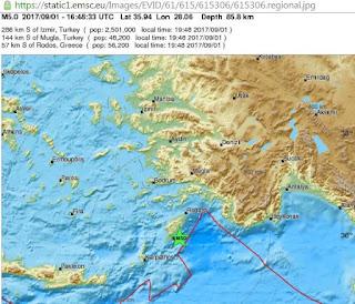Σεισμός 5 βαθμών  νότια της Ρόδου