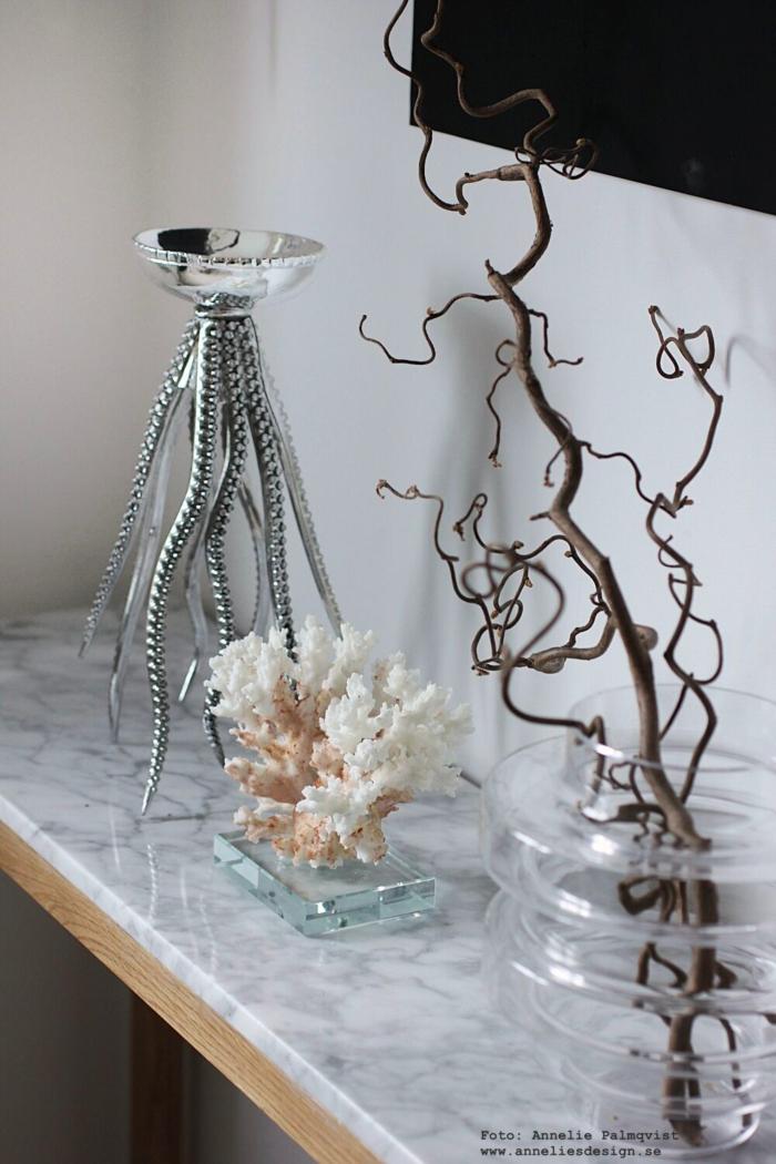annelies design, bläckfisk, ljusstake, skål, ljusstakar, dekoration, prydnad, konsolbord, marmor, ormhassel, webbutik, webbutiker, webshop, nätbutik,