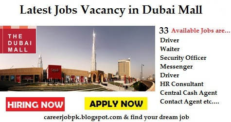 Latest jobs vacancy in Dubai Mall 2016