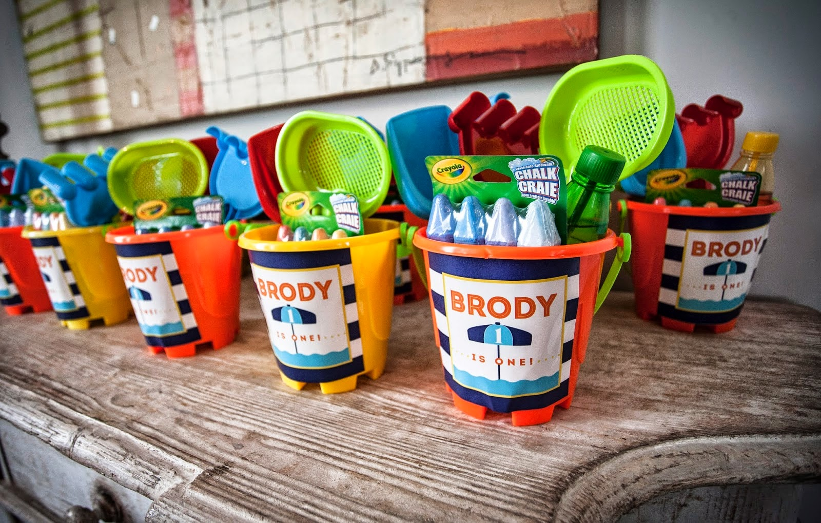 Beach Pail Party Favors Saying Thank You For Coming: Nico And LaLa: Fun In The Sun Summer Birthday