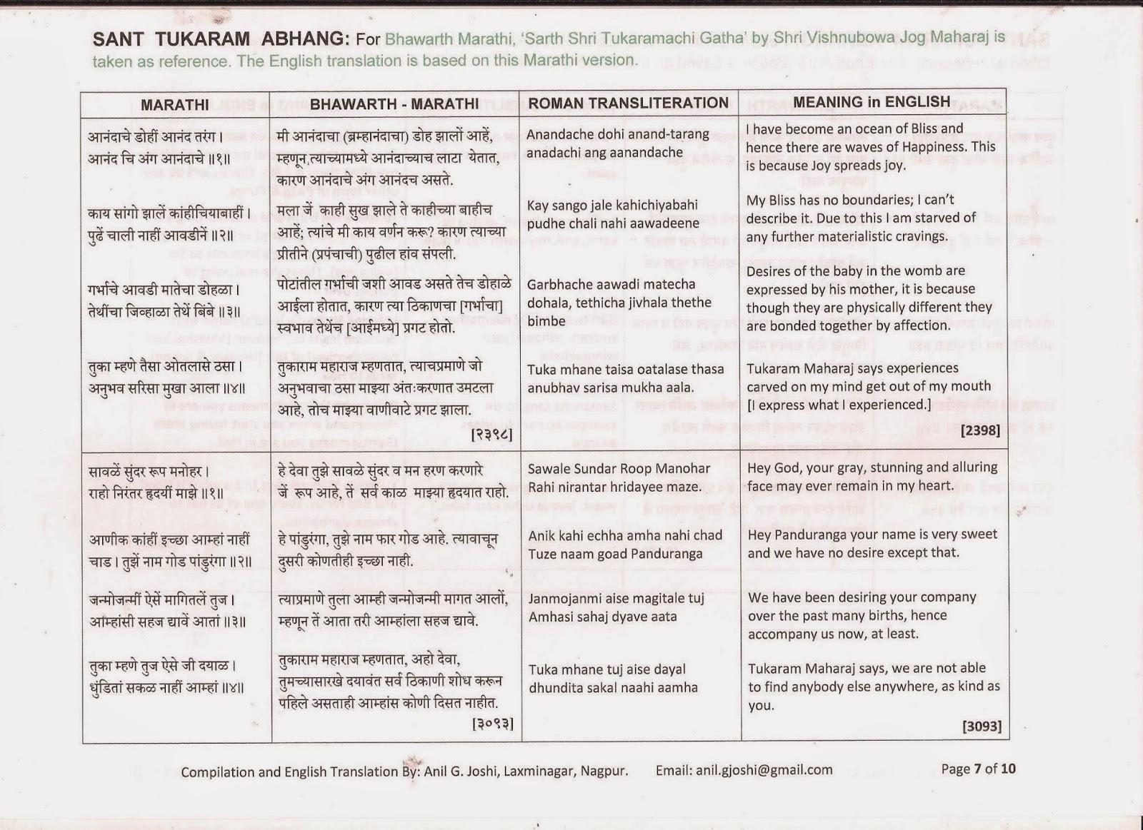 SANT TUKARAM ABHANG IN ENGLISH PDF