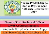 Andhra Pradesh Capital Region Development Authority Recruitment 2017– Technical Officer