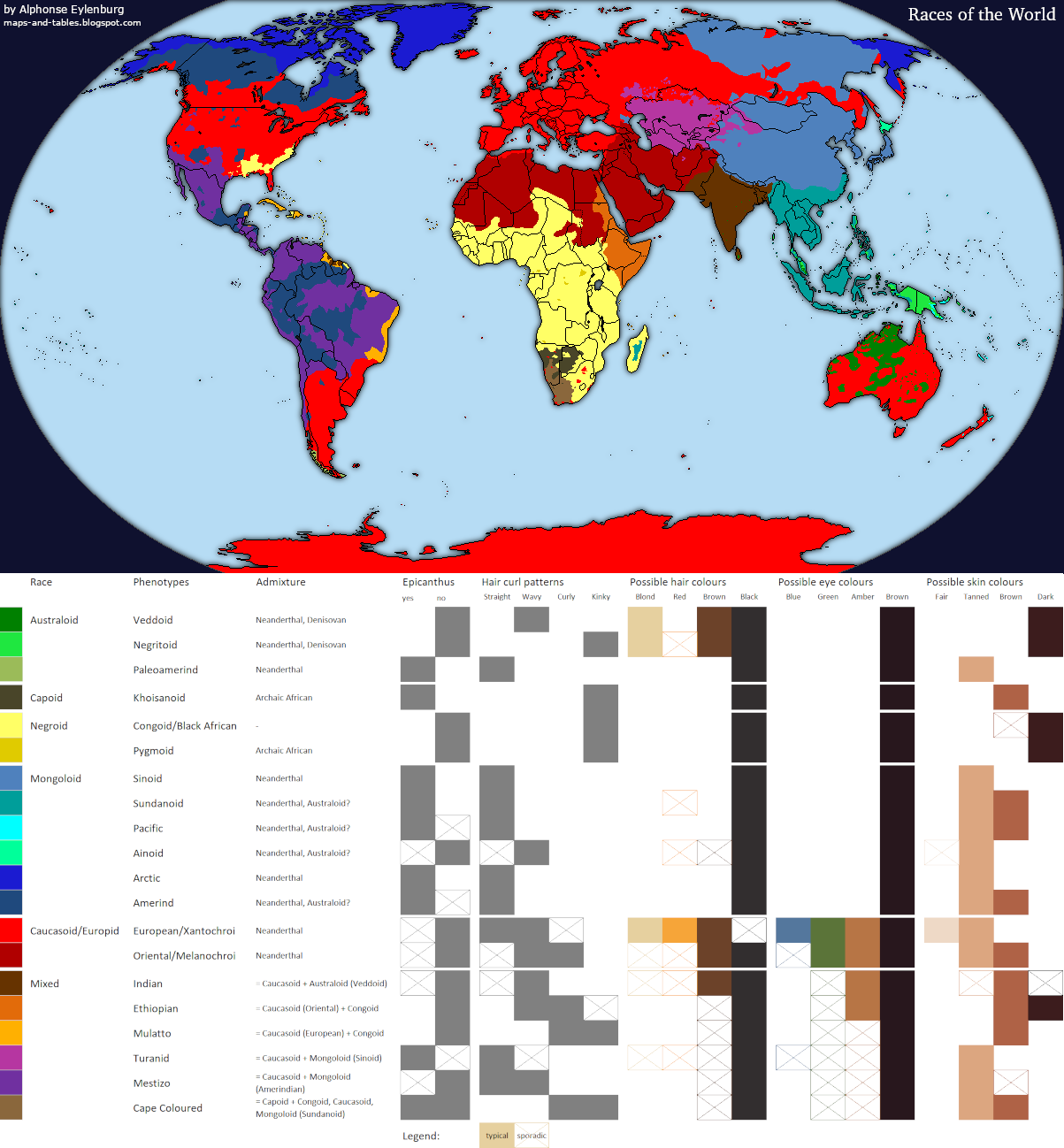Maps and Tables: World Map of Races