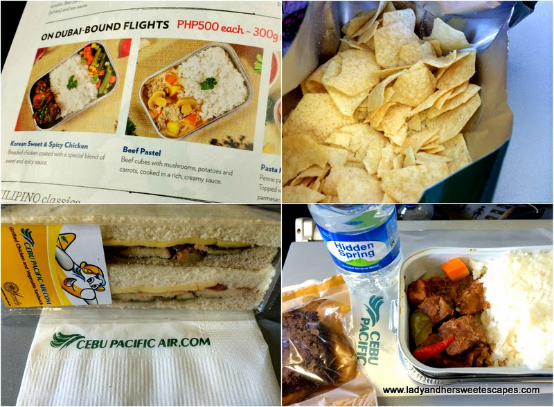 food options onboard Cebu Pacific Dubai-Manila aircraft