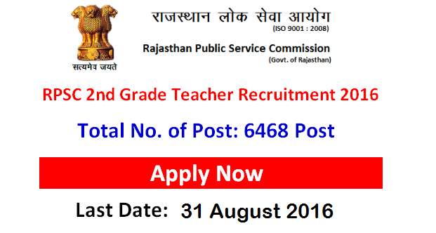 RPSC 2nd Grade Teacher Recruitment 2016