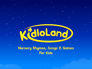"Screenshot of Kidloland opening screen with text ""KidloLand Nursery Rhymes, Songs & Games For Kids"""