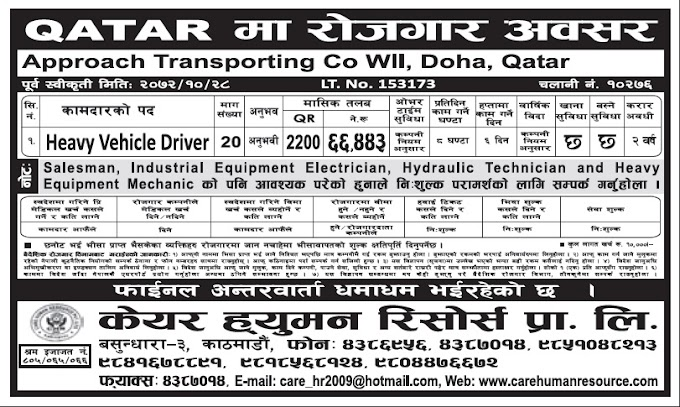 Jobs in Qatar for Nepali, Salary Rs 66,443