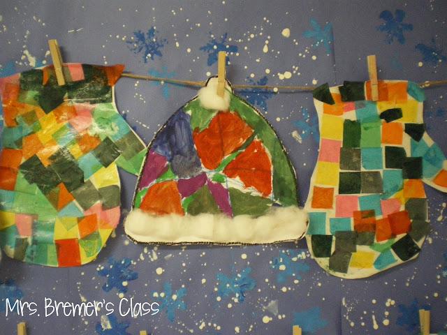 Hat and Mitten art activities lesson for Kindergarten