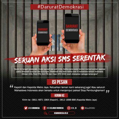 Empat Mahasiswa Jadi Tersangka, BEM SI Serukan Aksi SMS Serentak ke Kapolri