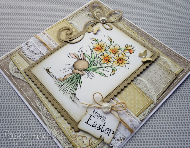 Easter/Spring card in yellow with LOTV image Bunny Blooms