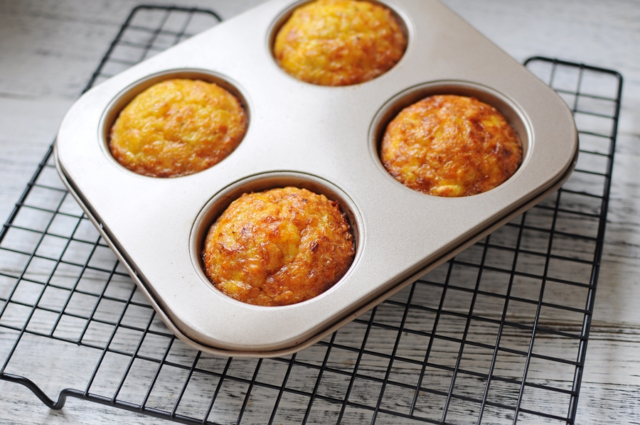 freshly baked cauliflower cheese muffin