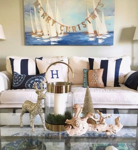 Coastal Living Room Decked out for Christmas