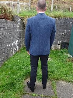 back view of harris tweed suit slater glasgow
