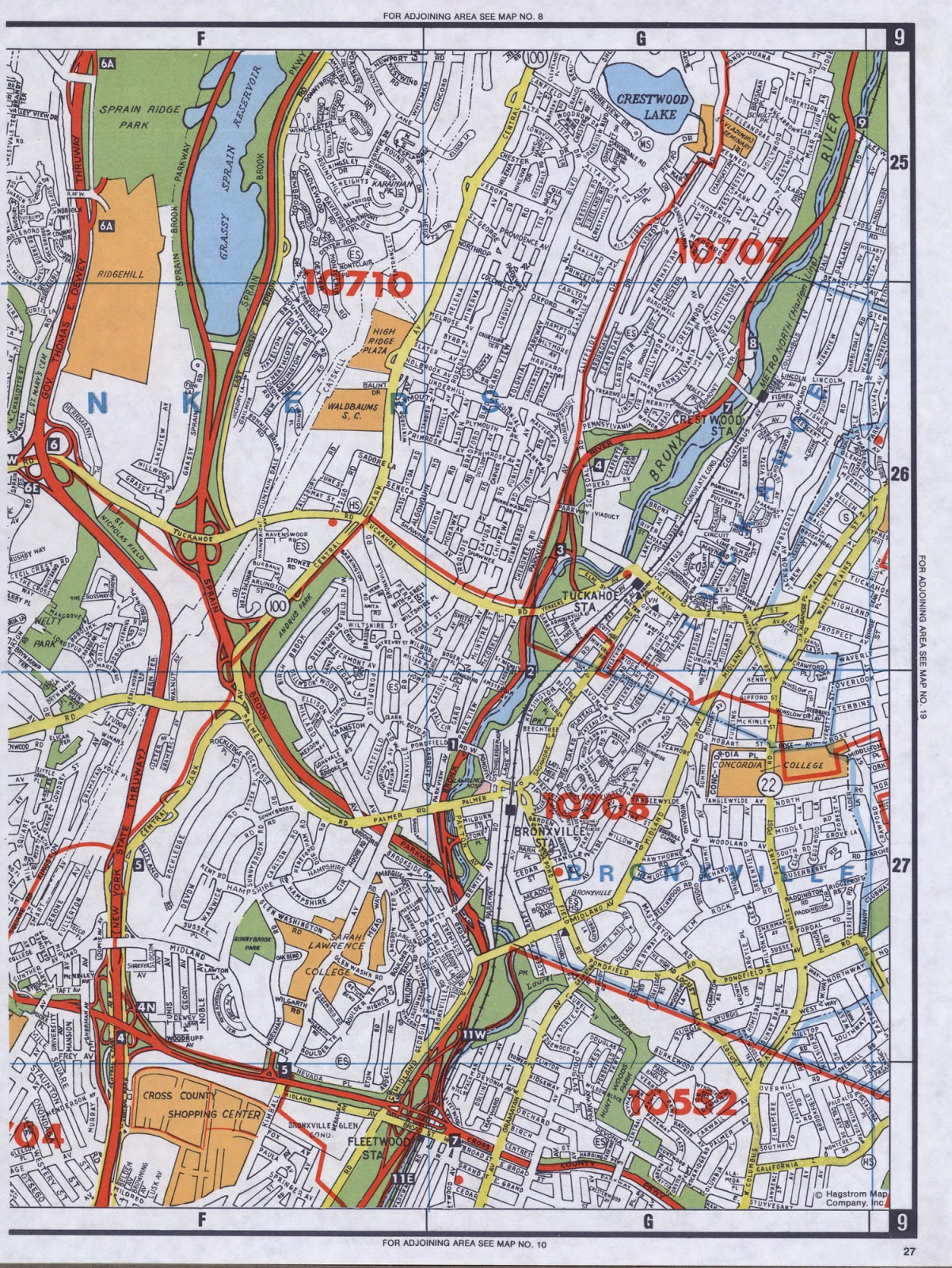 Detailed scanned map of Yonkers New York