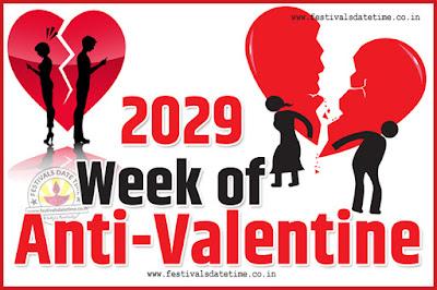 2029 Anti-Valentine Week List, 2029 Slap Day, Kick Day, Breakup Day Date Calendar