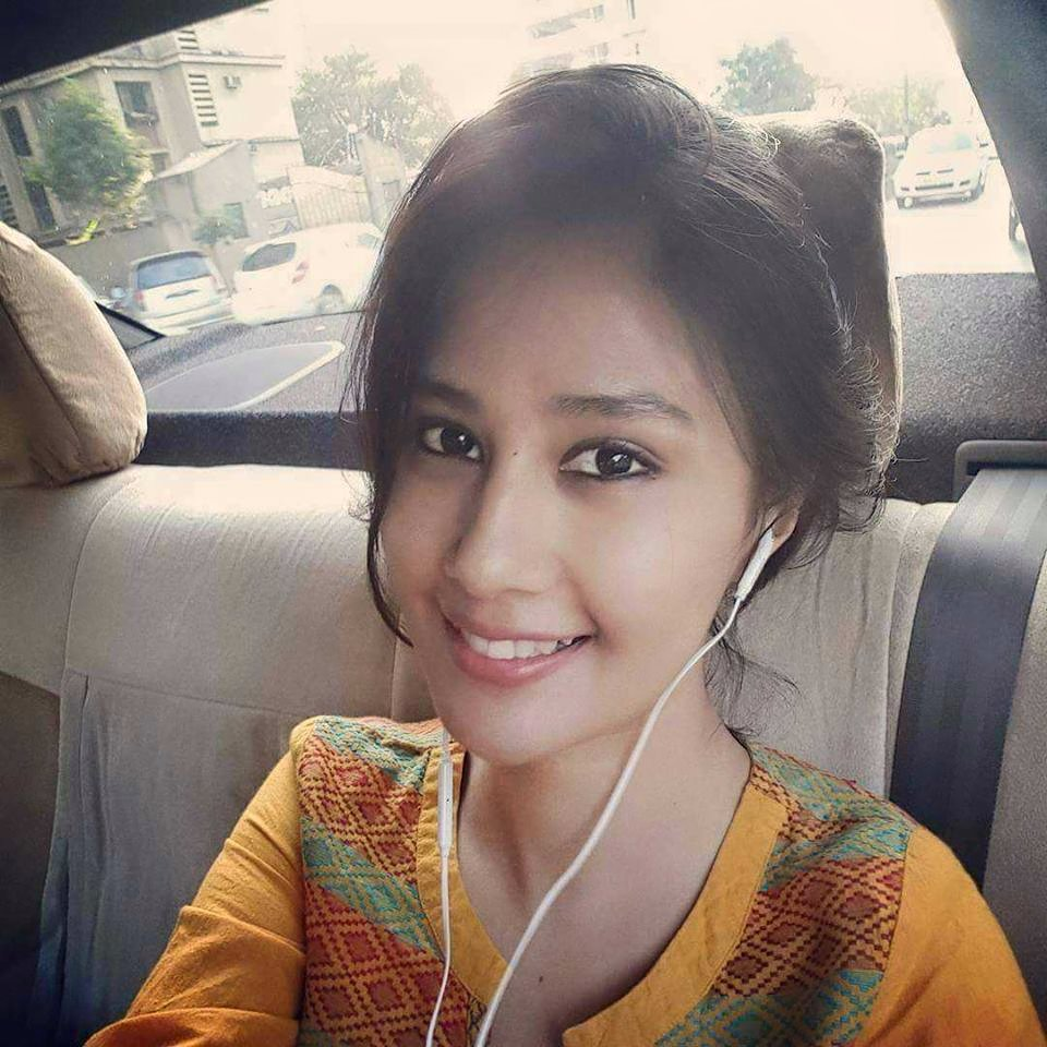 Sasha Chettri selfie still in taxi cute smile