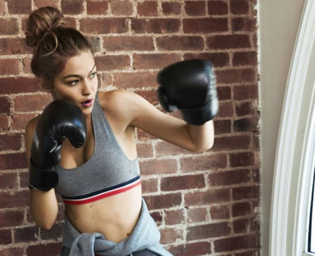 Gigi Hadid keeping fit, through boxing & boxercise,