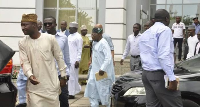 Back to PDP? Obasanjo spotted at venue of PDP Convention Committee meeting