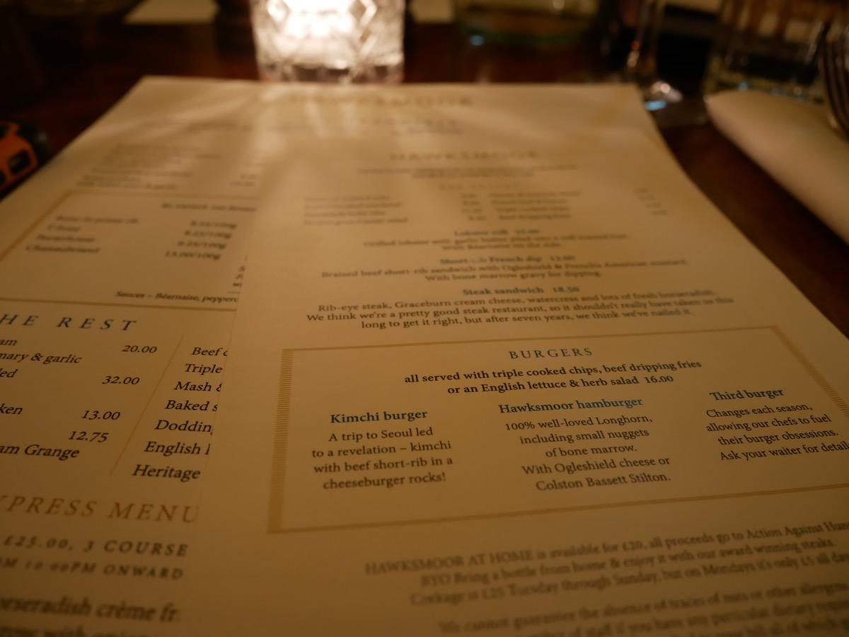 The separate burger menu at Hawksmoor Seven Dials - National Burger Day
