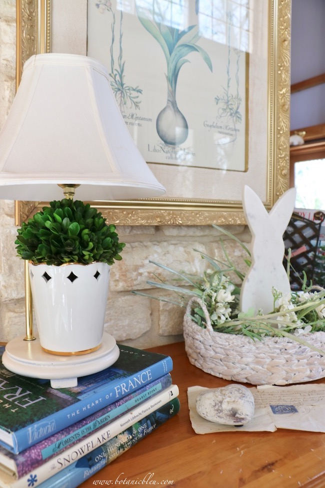 Usher in spring with white bunny arrangement