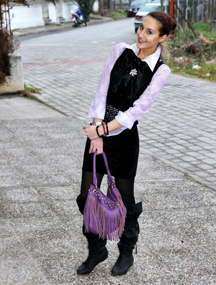 how to wear purple lilac color in winter