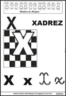 Alfabeto ilustrado letra X