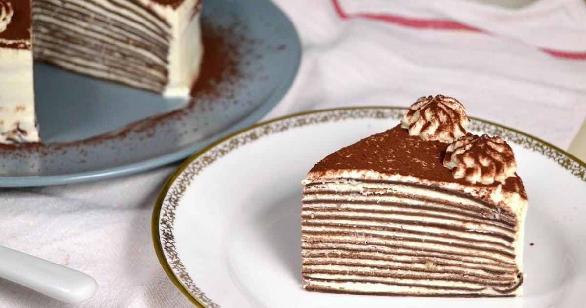 Tarta de crepes de chocolate y nata  Cuuking Recetas de