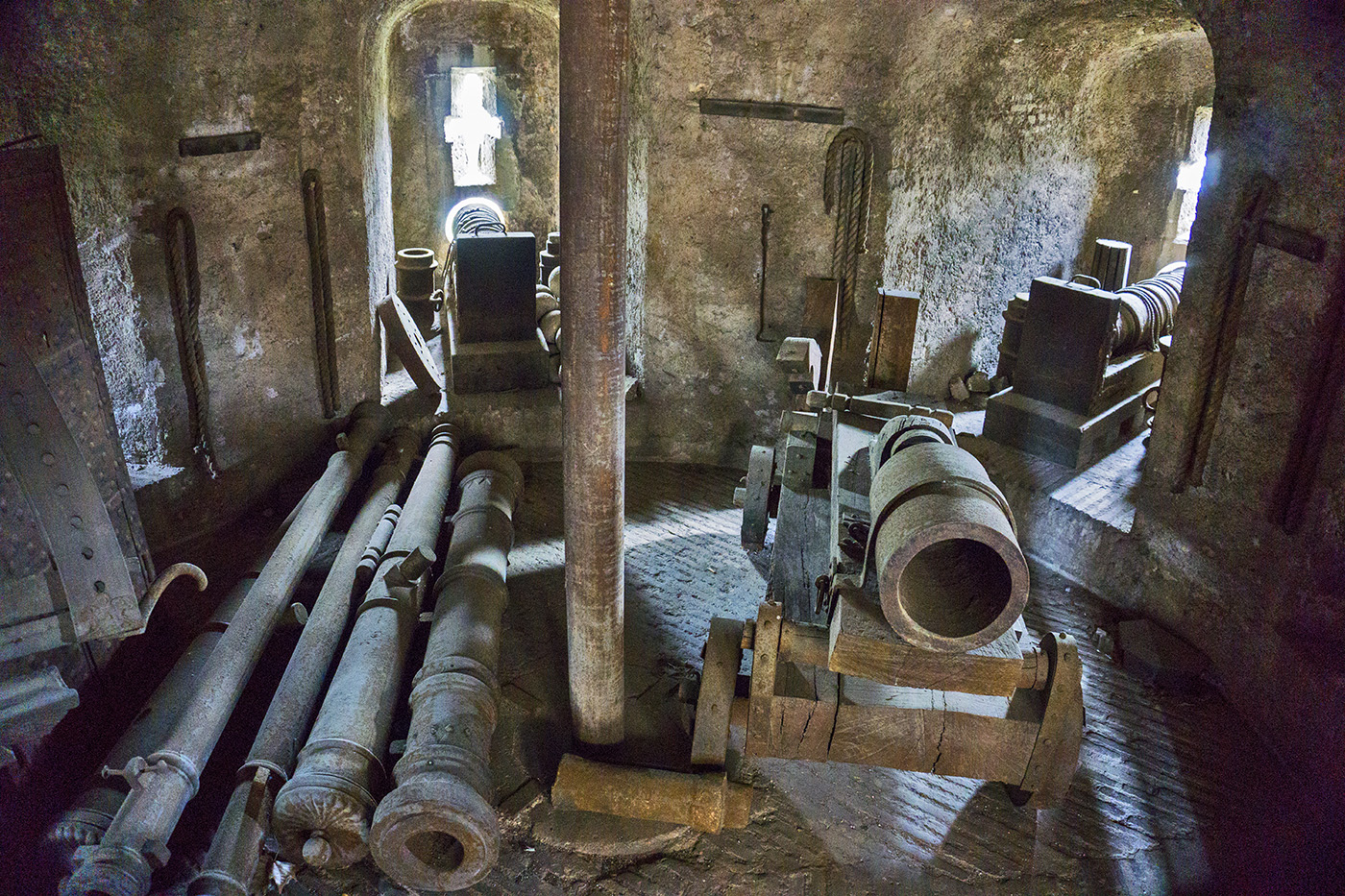 Old cannons inside Castel Sant'Angelo in Rome, Italy