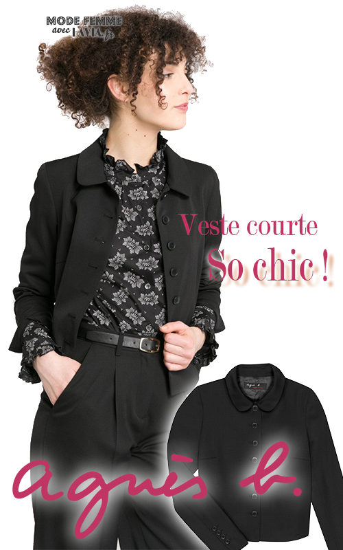 bfd3393c14 Veste blazer femme courte noire AGNES B