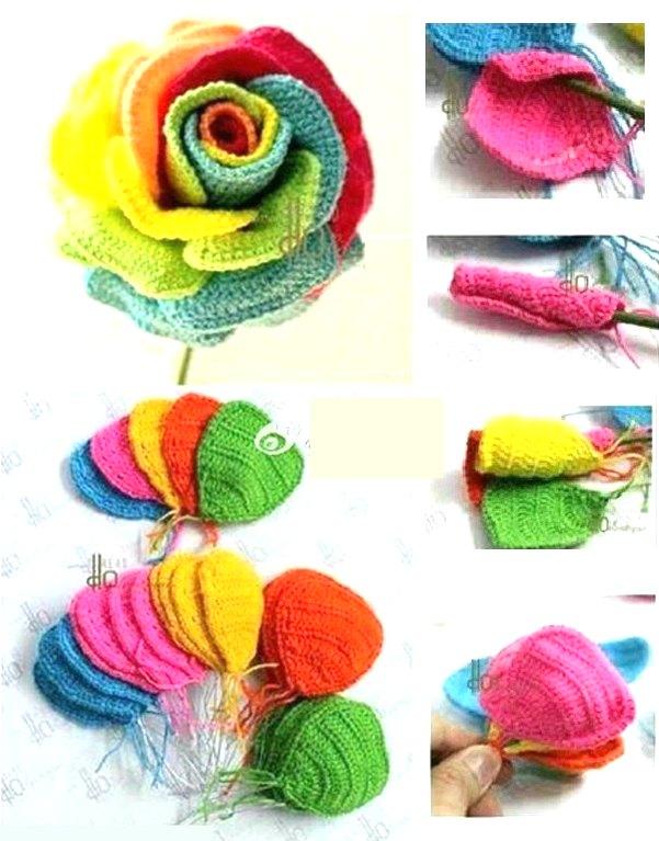 Rosas de crochet con mucho corazon
