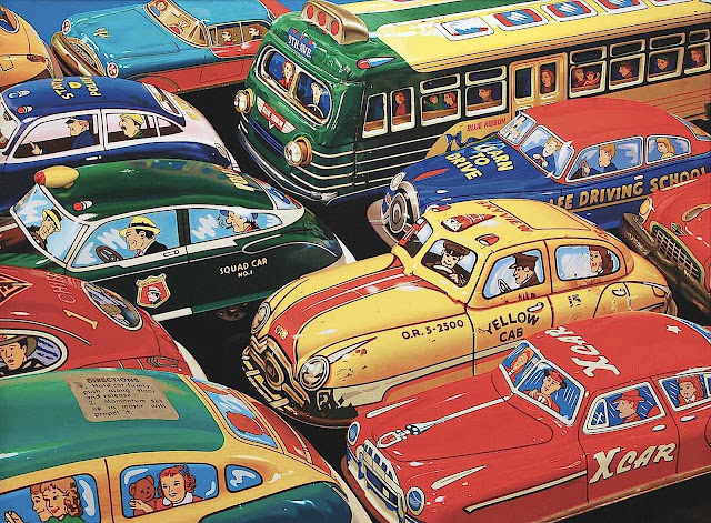 A Don Jacot realism painting of traffic