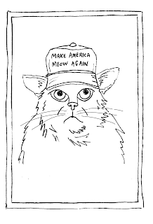 Make America Meow Again coloring greeting card by David Borden