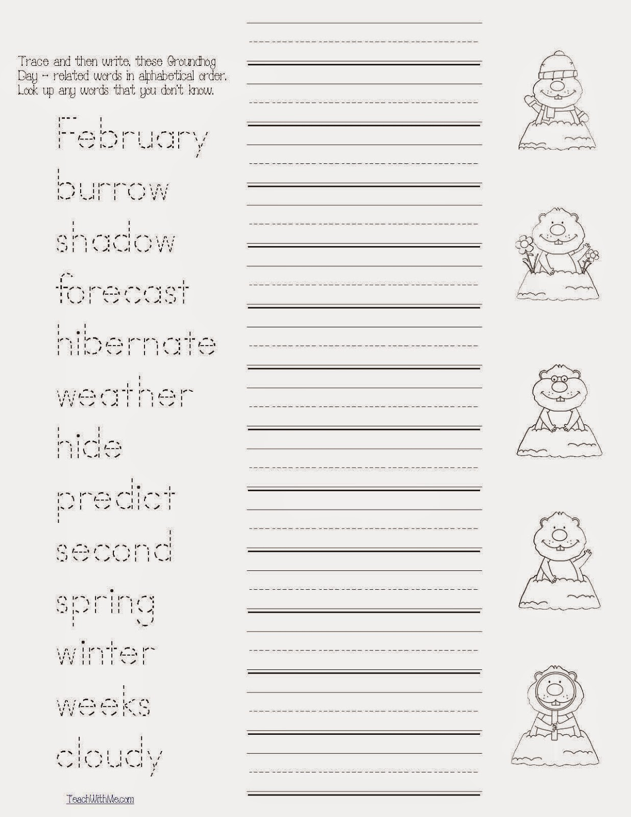 Classroom Freebies Groundhog Day Word Work Packet