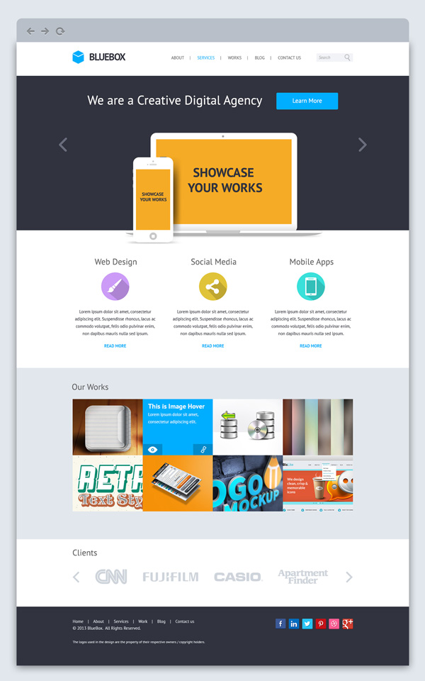 BlueBox: Flat Website PSD Templates Design