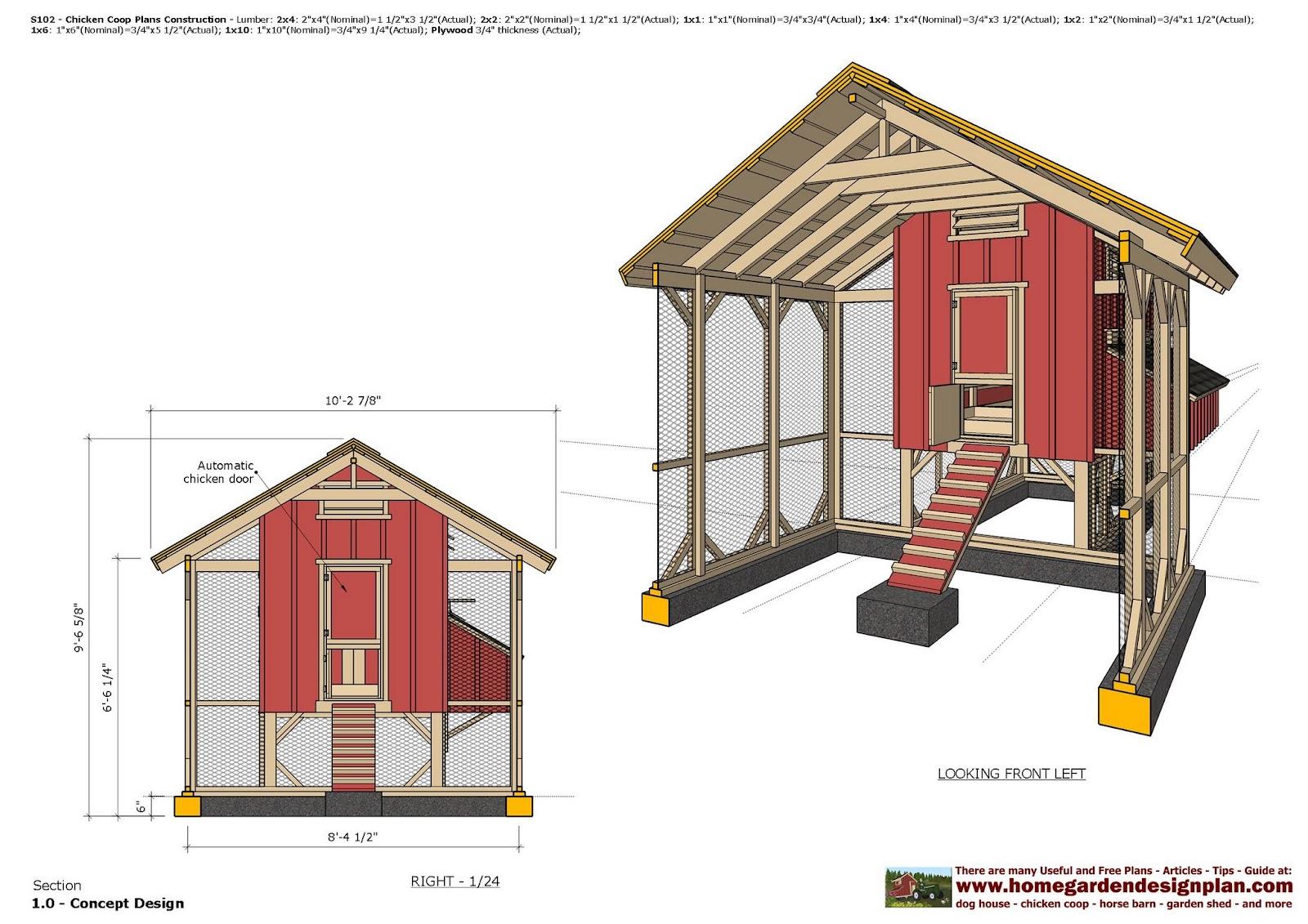 home garden plans: S102 - Chicken Coop Plans - Chicken ...