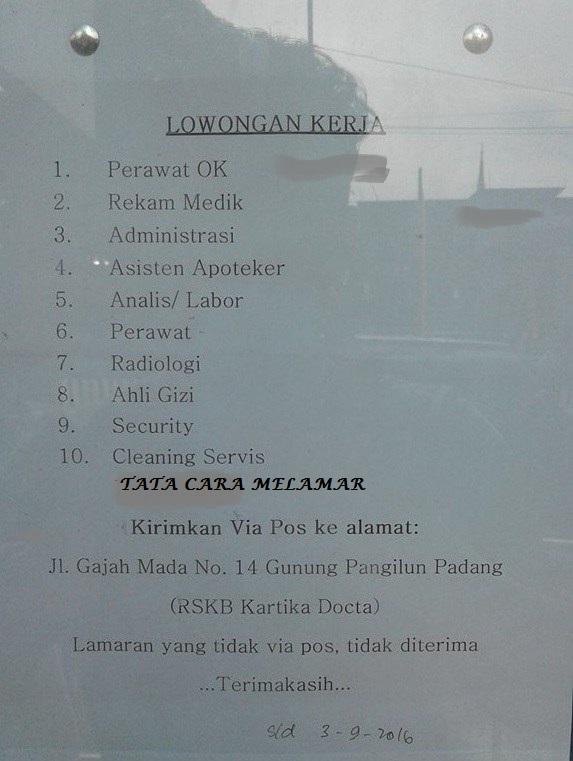 Lowongan Kerja di Padang – Rumah Sakit Khusus Bedah Kartika Docta – 10 Posisi (Penutupan 3 Sept.2016)