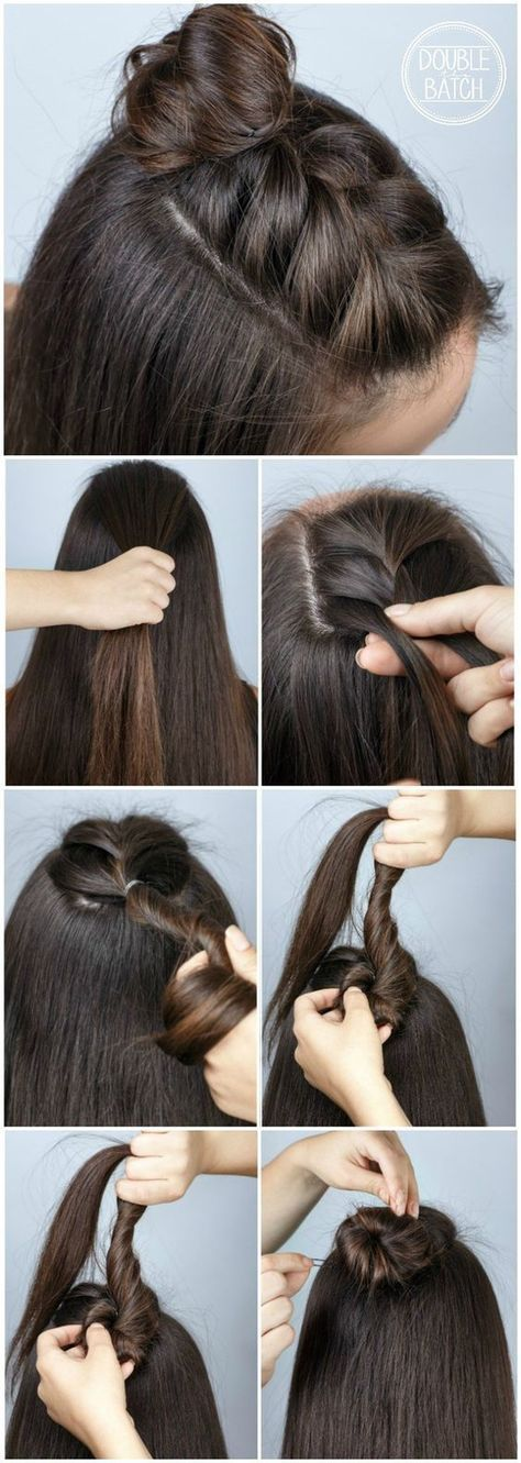 Trend Watch – Mohawk braid into top knot half-up hairstyles