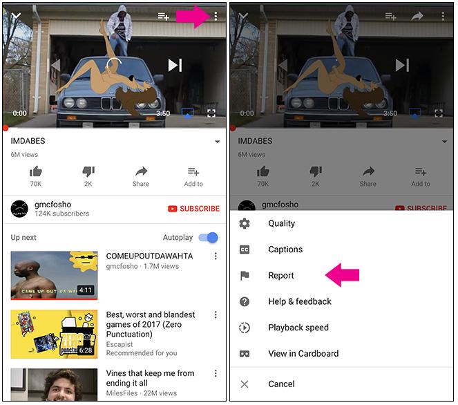 segnalare un video utilizzando l'app mobile YouTube