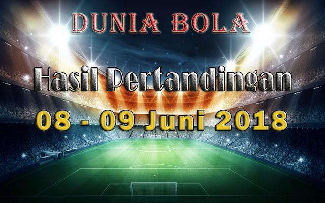 Hasil Pertandingan Sepak Bola Tanggal 08  - 09 Juni 2018