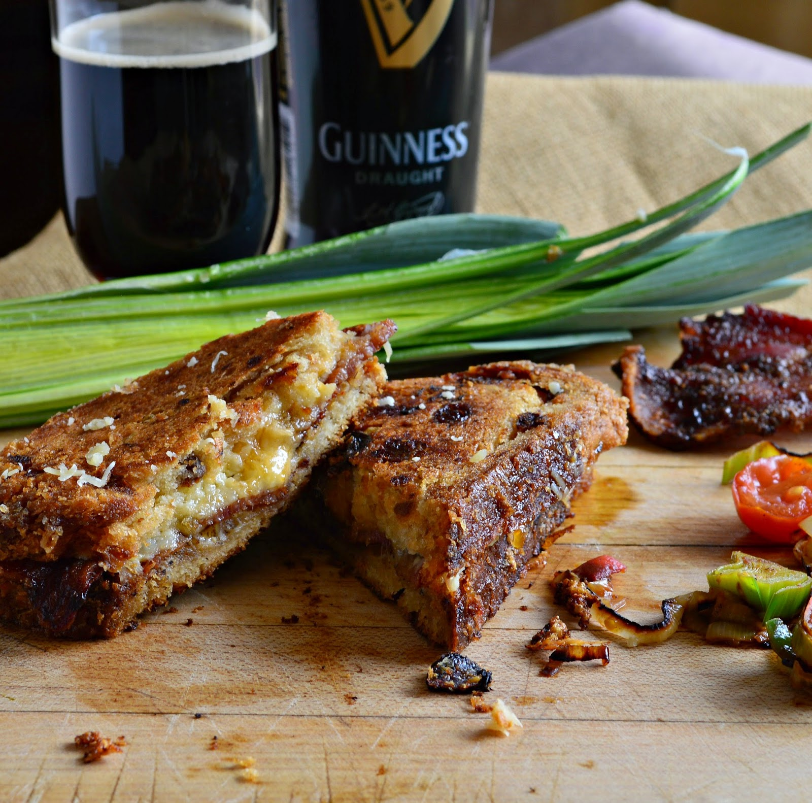 An Irish grilled cheese with Guinness and apricot jam and bacon and Irish cheese and oh my...this is good! Don't forget the Irish soda bread! #Irishrecipes #St.PaddiesDay #grilledcheese www.thisishowicook.com