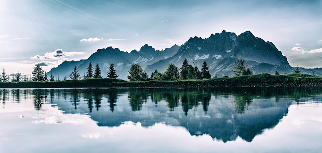 Reflection Of Mountain In Water Daylight Environment of Forest HD Wallpaper