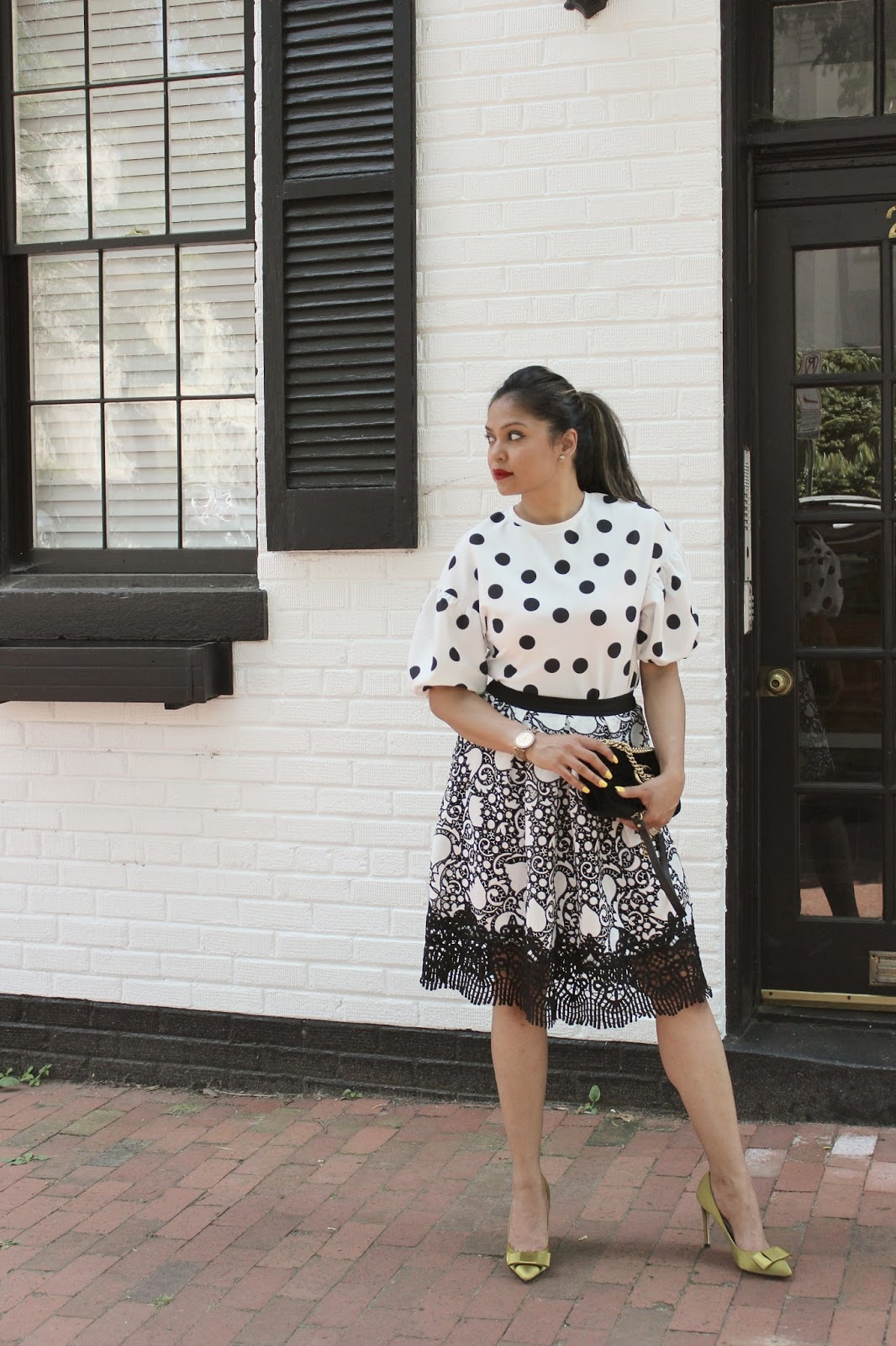 how to wear polka dots and lace, black and white, classic, summer, fashion, ootd, ann taylor lace skirt, street style, blogger, saumya, zara polka dots, myriad musings