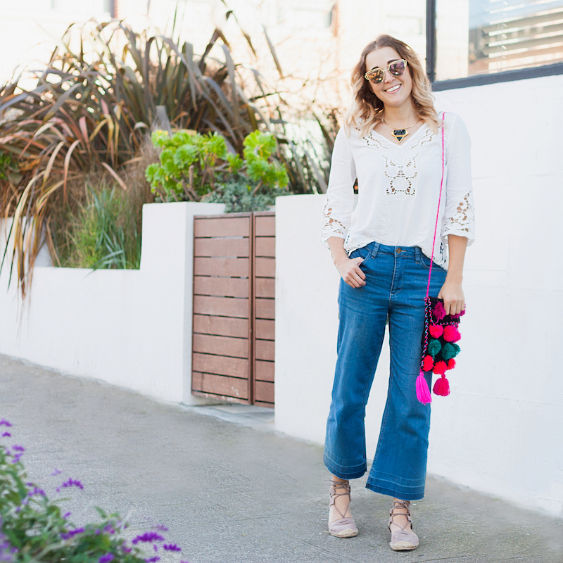 casual chic bohemian festival style by Bryn Newman of Stone Fox Style a san francisco fashion blog forever 21 denim cropped frayed culottes.
