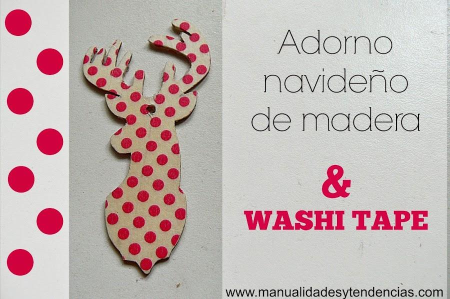 Adornos de madera decorados con washi tape