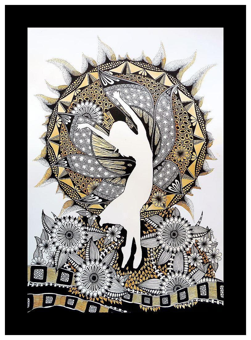 Sztuka inspirowana Zentangle - rysunek malowany herbatą