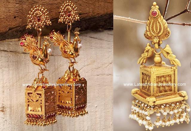 Unique Square Antique Gold Jhumkas