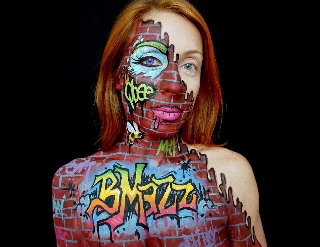 01-Tagged-Graffiti-Brick-Brenna-Mazzoni-Body-Paint-Fx-Makeup-Transformations-www-designstack-co