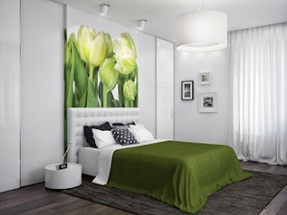 Dormitorio color gris y verde