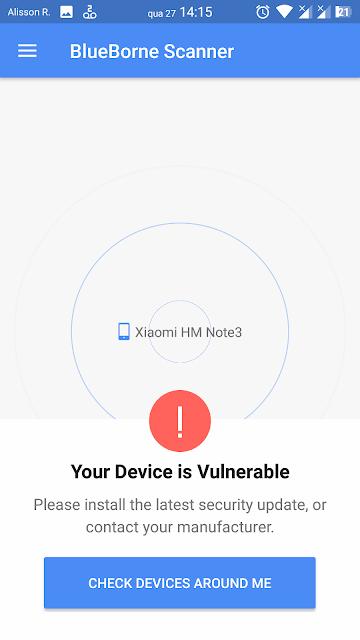 Meu dispositivo está vulnerável ao BlueBorne